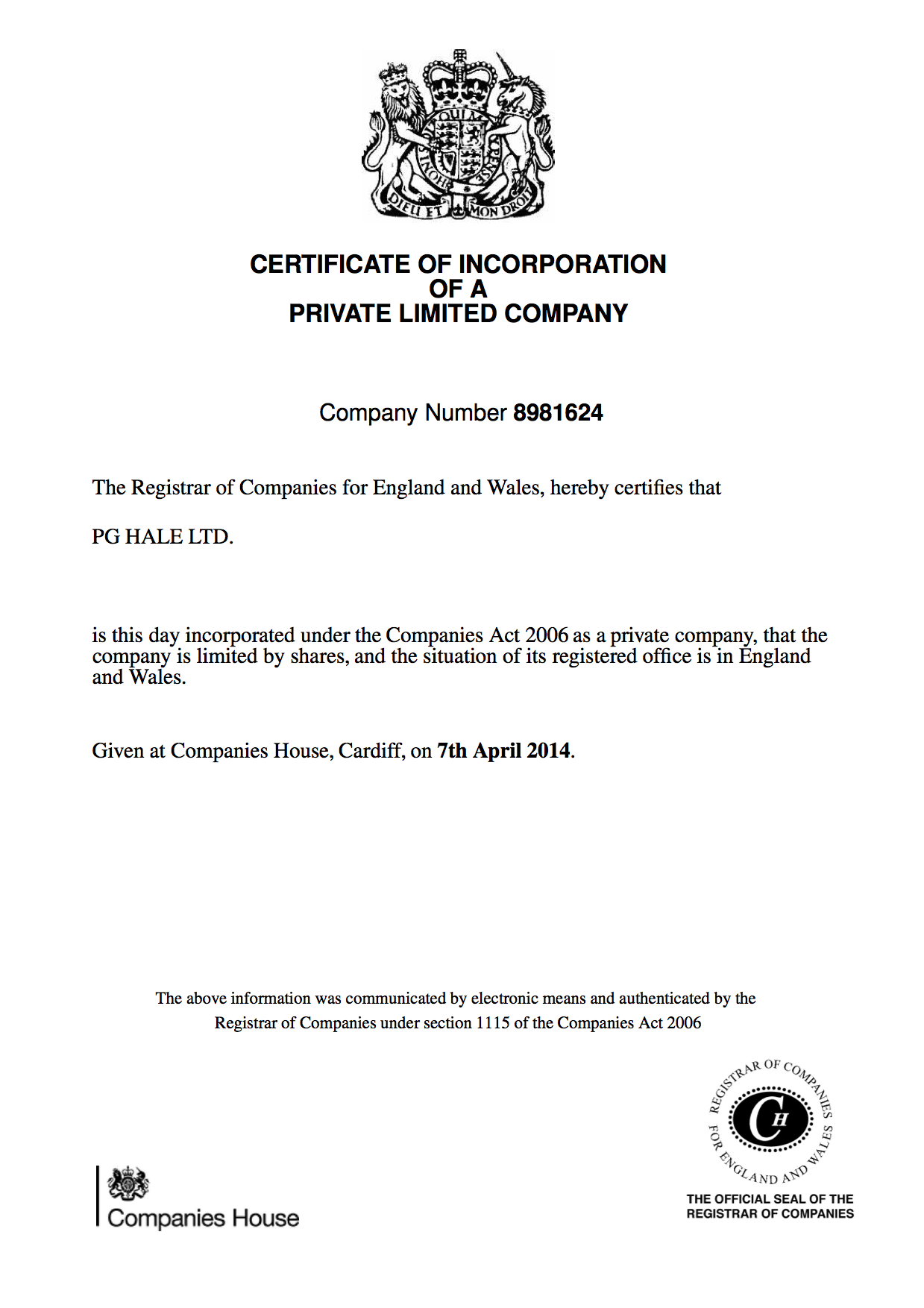 PG Hale Ltd. Certificate of Incorporation